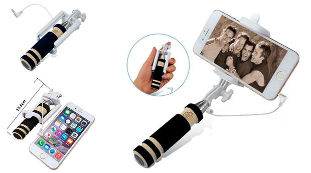 Mini Selfie Stick com Punho Extensível!