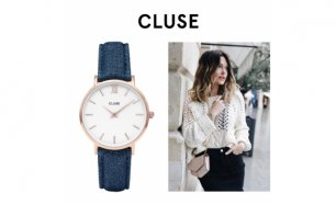 Relógio Cluse® Minuit Rose Gold White/Blue Denim | 33MM