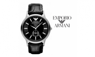 Relógio Emporio Armani® Black Leather
