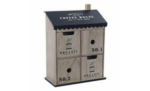 Caixa Decorativa Dekodonia Coffee House Madeira (23 x 10 x 31 cm)